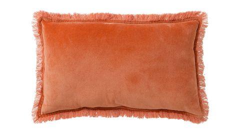 Pillow, Orange, Cushion, Brown, Furniture, Rectangle, Throw pillow, Fur, Leather, Linens,