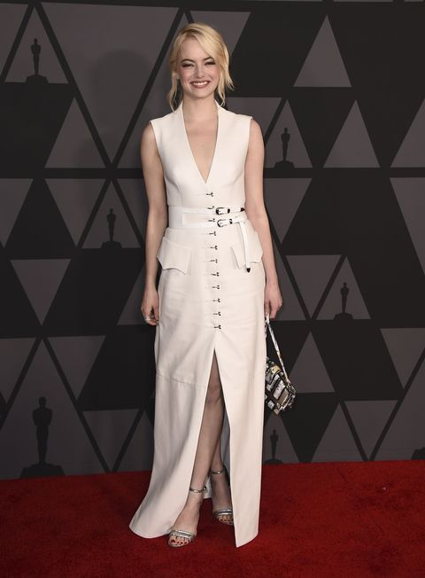 Emma Stone arrives at the 9th annual Governors Awards at the Dolby Ballroom on Saturday, Nov. 11, 2017, in Los Angeles. (Photo by Jordan Strauss/Invision/AP)