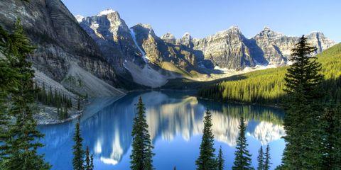 Mountainous landforms, Mountain, Natural landscape, Larix lyalliiSubalpine Larch, Nature, Wilderness, Reflection, Tarn, Lake, Mountain range,