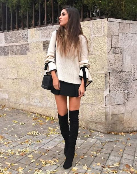 Clothing, Street fashion, Black, Shoulder, Joint, Knee-high boot, Fashion, Knee, Footwear, Leg,