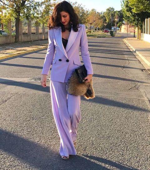 Clothing, Suit, White, Purple, Blazer, Street fashion, Pantsuit, Pink, Fashion, Outerwear,