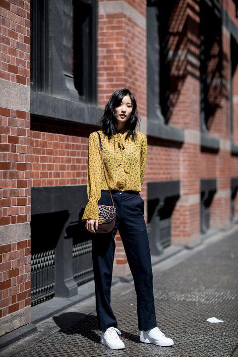 White, Photograph, Clothing, Street fashion, Yellow, Fashion, Jeans, Snapshot, Footwear, Beauty,