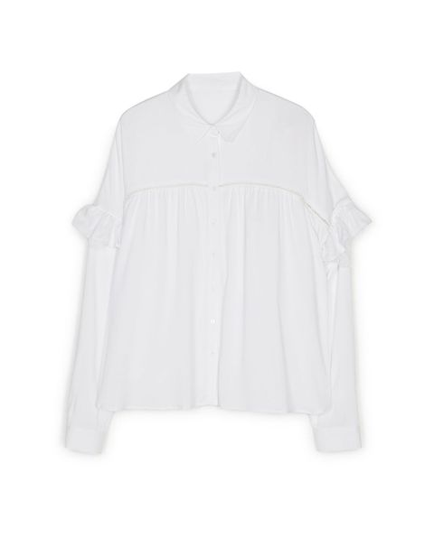 Clothing, White, Sleeve, Outerwear, Blouse, T-shirt, Top, Collar, Neck, Shirt,