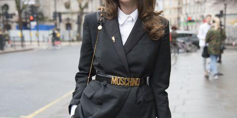 Street fashion, Clothing, White, Black, Fashion, Outerwear, Suit, Snapshot, Coat, Jacket,