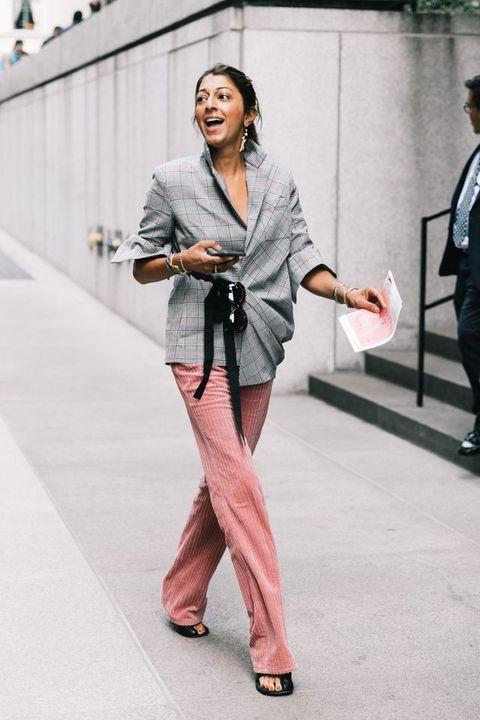 Clothing, Street fashion, Fashion, Pink, Snapshot, Suit, Blazer, Outerwear, Leg, Footwear,