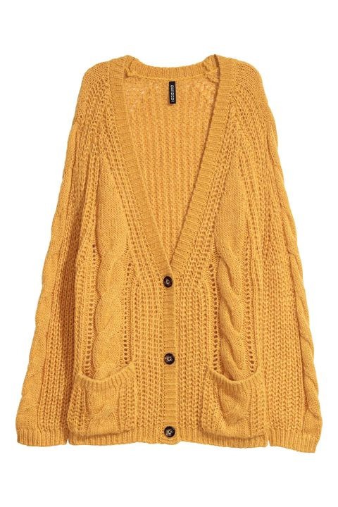 Clothing, Outerwear, Yellow, Sleeve, Sweater, Cardigan, Beige, Button, Top, Blouse,