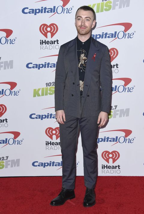 Sam Smith arrives at Jingle Ball at The Forum on Friday, Dec. 1, 2017, in Inglewood, Calif.