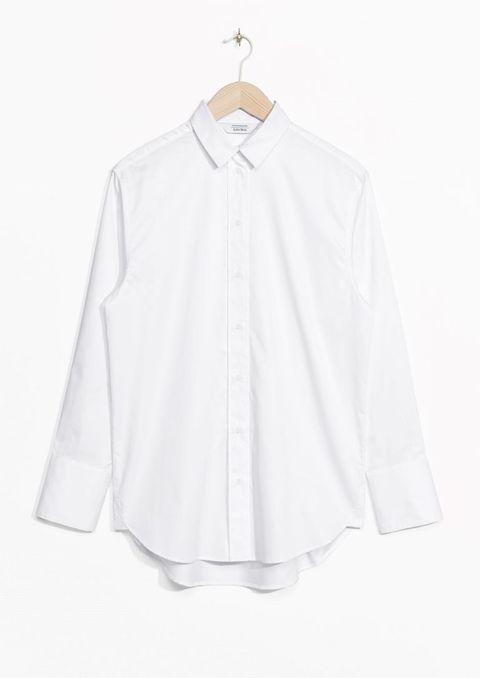 Clothing, White, Collar, Sleeve, Outerwear, Blouse, Button, Shirt, Neck, Top,