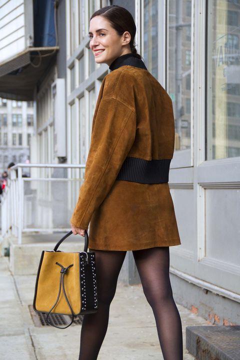 Clothing, Street fashion, Tights, Fashion, Brown, Outerwear, Leg, Snapshot, Yellow, Human leg,