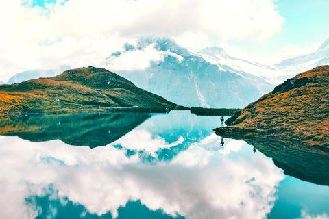 Nature, Reflection, Sky, Natural landscape, Mountain, Mountainous landforms, Water, Lake, Highland, Water resources,