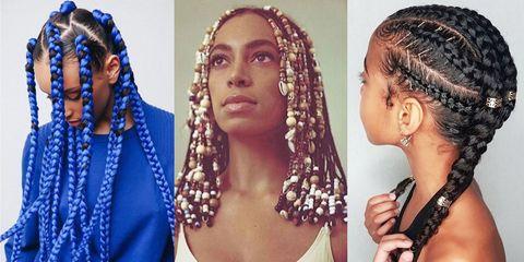 Hair, Hairstyle, Cornrows, Black hair, Braid, Forehead, Fashion accessory, Long hair, Headpiece, Dreadlocks,