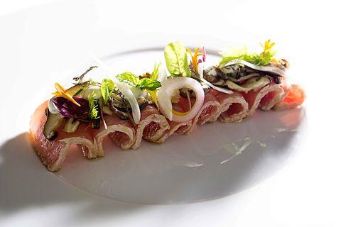 Dish, Cuisine, Food, Ingredient, Garnish, Produce, À la carte food, Meat, Recipe, Tataki,