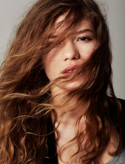 Hair, Face, Hairstyle, Long hair, Brown hair, Chin, Layered hair, Hair coloring, Beauty, Lip,