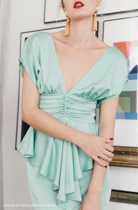 Clothing, Shoulder, Dress, Cocktail dress, Aqua, Fashion model, Turquoise, Joint, Fashion, Neck,