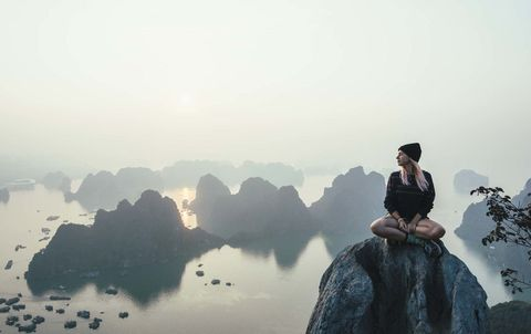 Sky, Atmospheric phenomenon, Cloud, Mist, Sitting, Calm, Photography, Tourism, Rock, Travel,