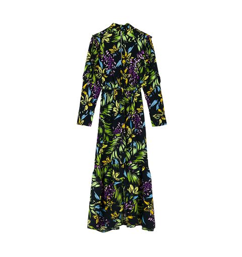 Clothing, Purple, Sleeve, Green, Violet, Robe, Dress, Yellow, Outerwear, Day dress,