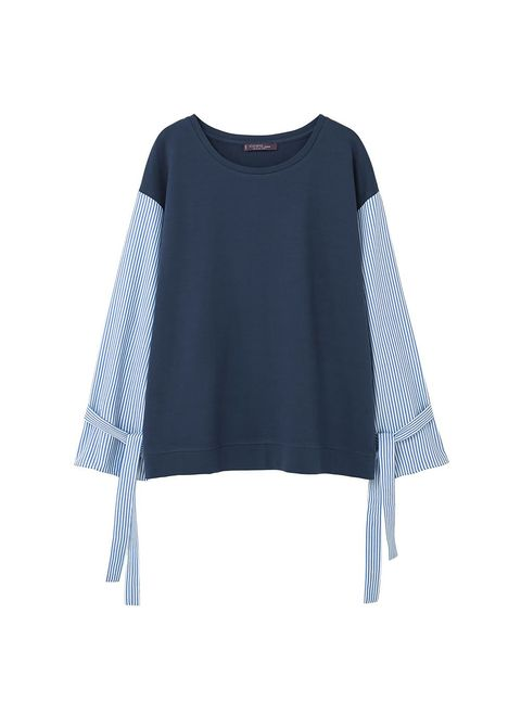 Clothing, Blue, Sleeve, T-shirt, Outerwear, Blouse, Neck, Jersey, Crop top, Top,