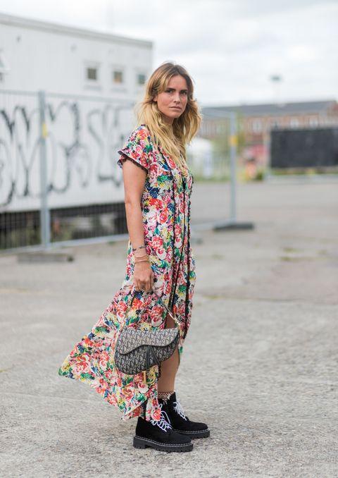 Clothing, Street fashion, Fashion, Footwear, Dress, Shoulder, Outerwear, Pink, Shoe, Pattern,