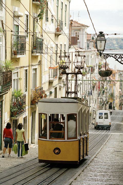 Tram, Transport, Cable car, Mode of transport, Vehicle, Cable car, Yellow, Rolling stock, Town, Urban area,
