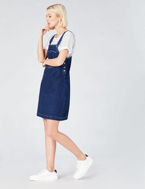 Clothing, White, Shoulder, Denim, Dress, Blue, Waist, Standing, Footwear, Fashion,