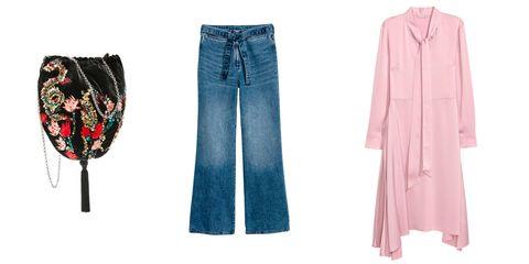 Clothing, Jeans, Denim, Pink, Textile, Trousers, Dress, Clothes hanger, Pattern,
