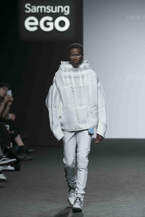 Fashion, Runway, White, Fashion show, Fashion model, Fashion design, Human, Outerwear, Footwear, Model,