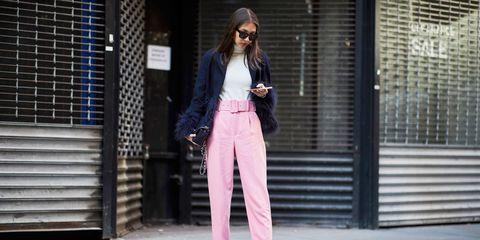 Pink, Clothing, Street fashion, White, Fashion, Snapshot, Jacket, Sportswear, Blazer, Jeans,