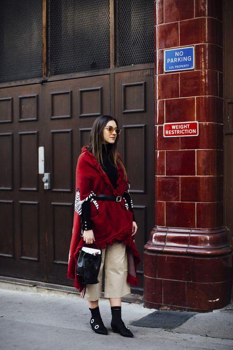 Red, Photograph, Street fashion, Snapshot, Plaid, Fashion, Design, Photography, Footwear, Knee,