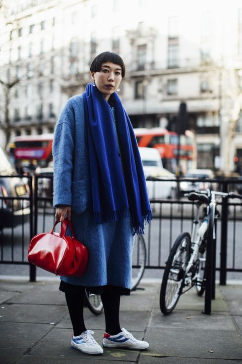 Street fashion, Photograph, Clothing, Blue, Fashion, Red, Electric blue, Snapshot, Outerwear, Footwear,