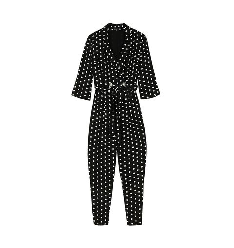 Clothing, Pattern, Polka dot, Design, Outerwear, Sleeve, Suit, Black-and-white, Trousers, Pattern,