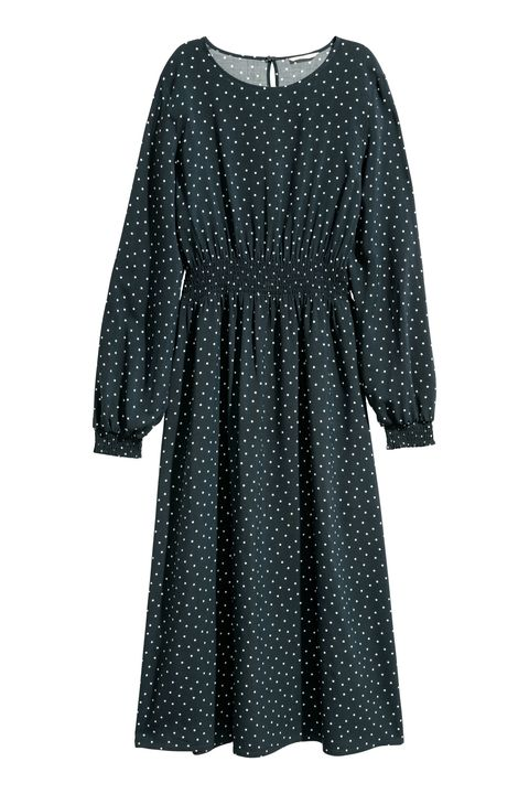Clothing, Black, Day dress, Dress, Pattern, Sleeve, Polka dot, Design, Outerwear, Cocktail dress,