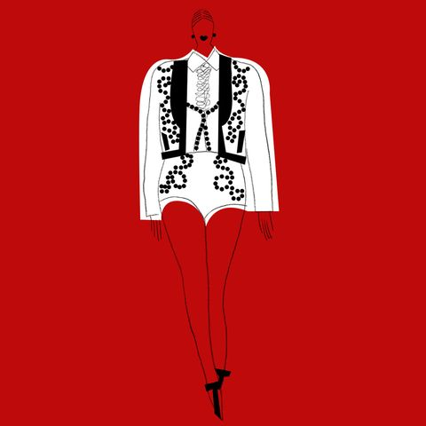 Sleeve, Collar, Shoulder, Red, Standing, Fashion illustration, Style, Costume design, Carmine, Blazer,