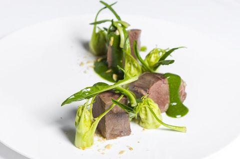 Food, Leaf, Ingredient, Dishware, Garnish, Produce, Herb, Vegetable, À la carte food, Culinary art,