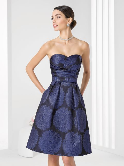 Clothing, Blue, Dress, Sleeve, Shoulder, Textile, Standing, Joint, Strapless dress, One-piece garment,