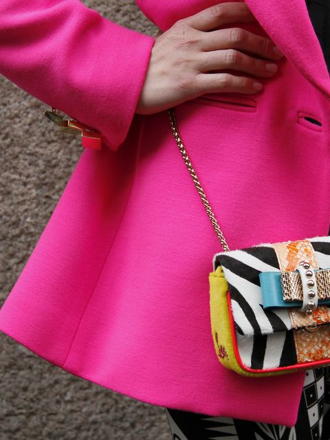 Bag, Outerwear, Magenta, Pink, Fashion accessory, Luggage and bags, Shoulder bag, Fashion, Street fashion, Material property,