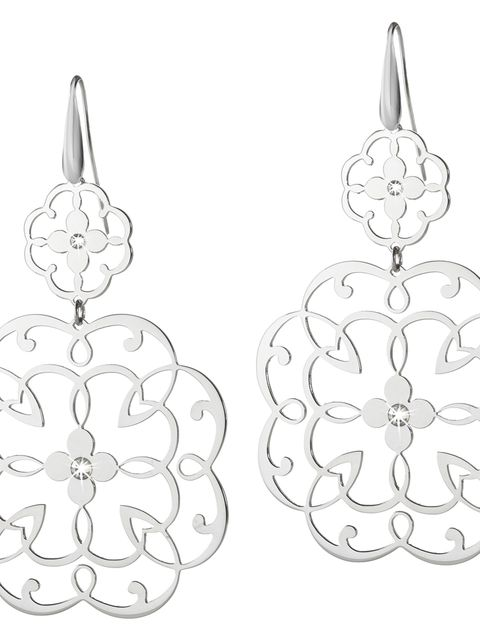 White, Pattern, Art, Line art, Black-and-white, Design, Circle, Silver, Earrings, Natural material,