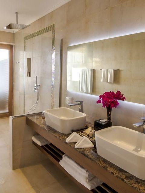 Plumbing fixture, Room, Interior design, Bathroom sink, Lighting, Architecture, Floor, Property, Tile, Wall,
