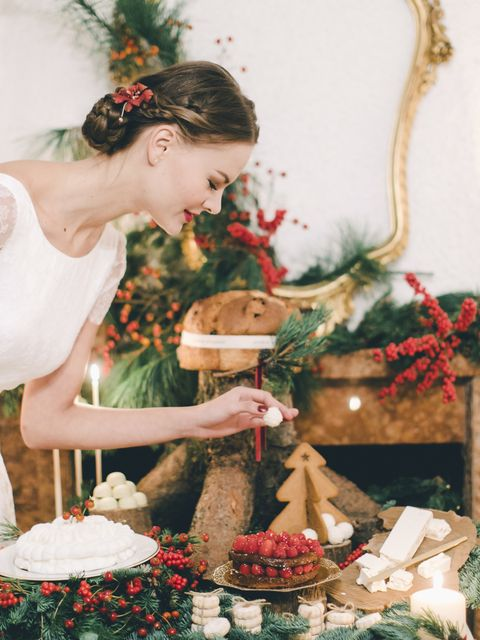 Dress, Bridal clothing, Hair accessory, Interior design, Headpiece, Bride, Gown, Wedding dress, Tradition, Christmas,