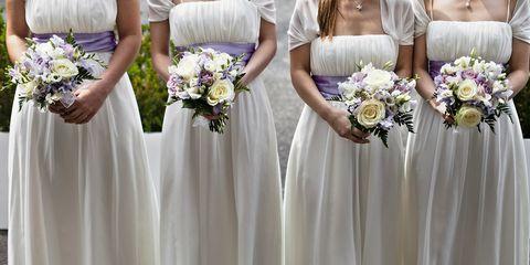 Clothing, Blue, Petal, Dress, Bouquet, Shoulder, Flower, Textile, Purple, Photograph,