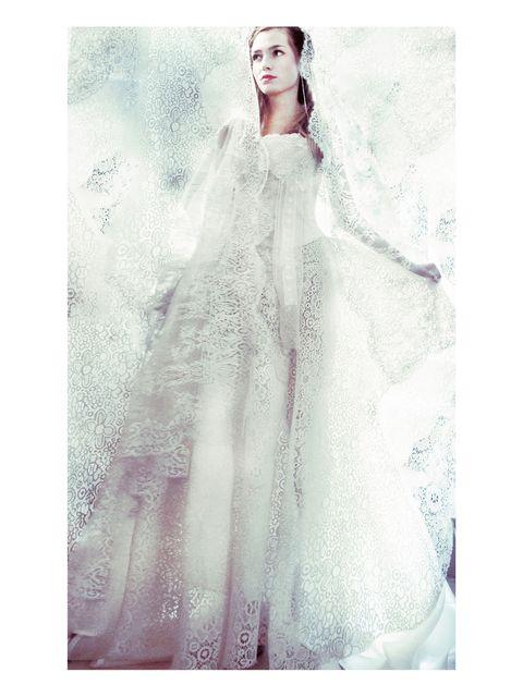 Sleeve, Dress, Textile, Bridal clothing, Gown, Wedding dress, Veil, One-piece garment, Embellishment, Bridal accessory,