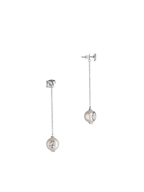 Earrings, Circle, Silver, Chain, Body jewelry,