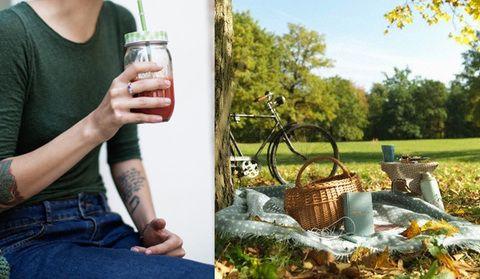 Arm, Hand, Denim, Drink, Drinkware, Bicycle accessory, Basket, Drinking, Alcoholic beverage, Wicker,