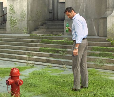 Fire hydrant, Green, Standing, Dress shirt, Stairs, Coquelicot, Street fashion, Pocket, Cylinder, Khaki pants,