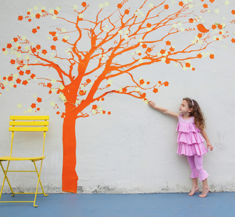 Branch, Yellow, Orange, Leaf, People in nature, Twig, Baby & toddler clothing, Deciduous, Peach, Tints and shades,