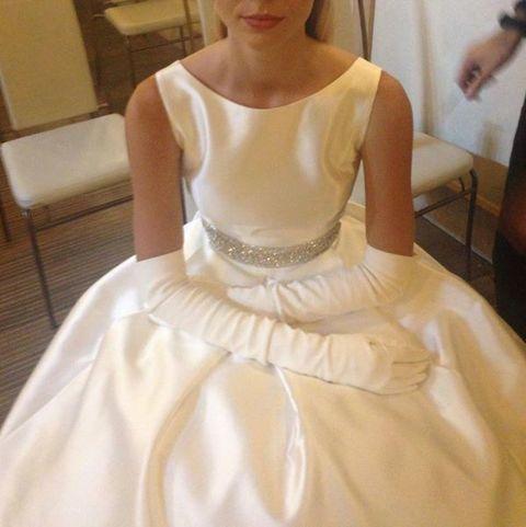 Clothing, Sleeve, Shoulder, Textile, Dress, Gown, Bridal clothing, Wedding dress, Ivory, Bride,
