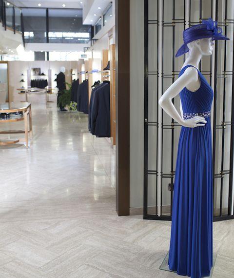Floor, Flooring, Dress, One-piece garment, Electric blue, Fashion, Cobalt blue, Street fashion, Mannequin, Clothes hanger,