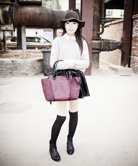Clothing, Leg, Sleeve, Textile, Outerwear, Bag, Fashion accessory, Style, Hat, Street fashion,