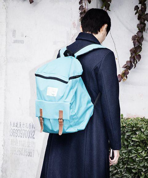 Bag, Style, Luggage and bags, Street fashion, Back, Teal, Pocket, Shoulder bag, Backpack, Strap,