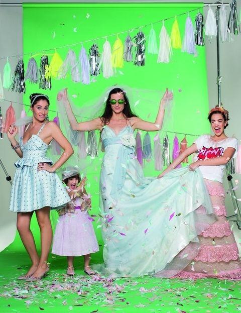 Green, Dress, Happy, Pink, Style, Formal wear, One-piece garment, Waist, Fashion, Youth,