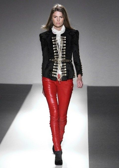 Clothing, Sleeve, Textile, Joint, Outerwear, Style, Fashion model, Waist, Leather, Carmine,